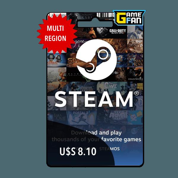 Steam Wallet U$S 8.10 para Valve